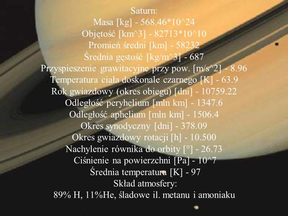 Saturn: Masa [kg] - 568. 46. 10^24 Objętość [km^3] - 82713
